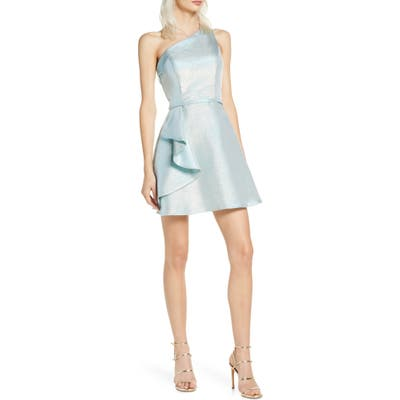MAC Duggal One-Shoulder Ruffle Metallic Party Dress, Blue