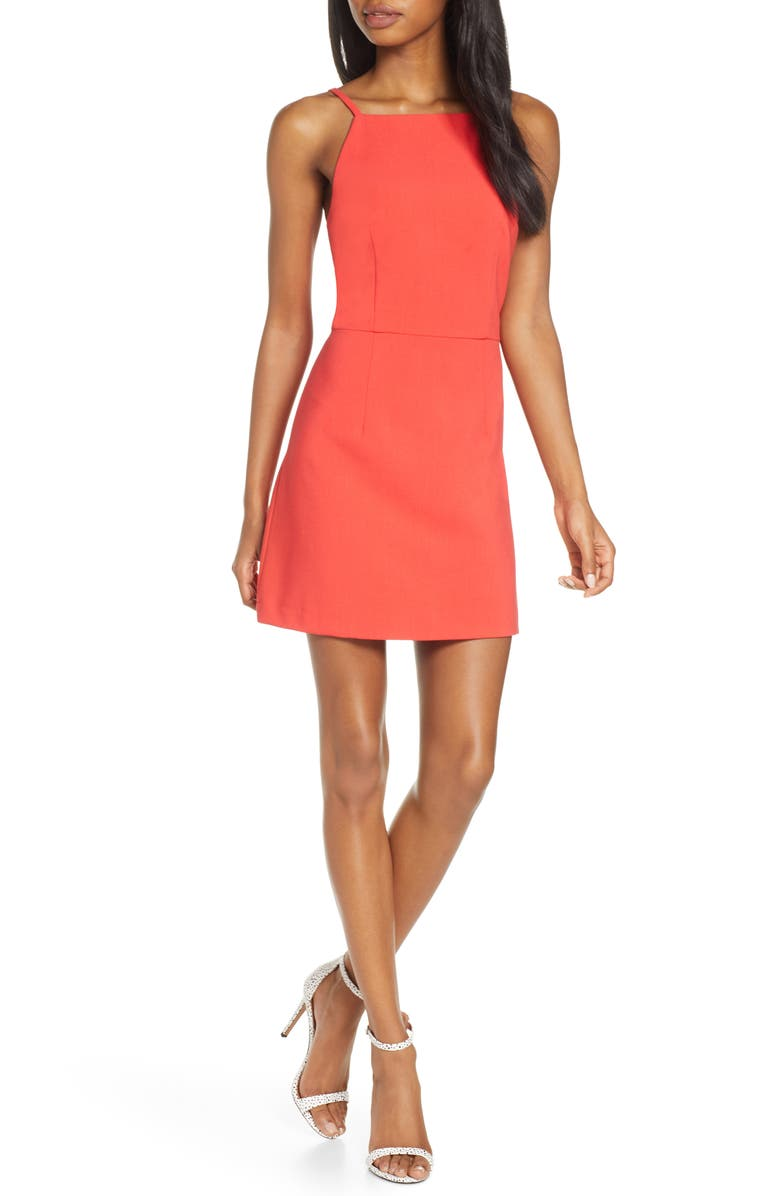 FRENCH CONNECTION Whisper Light Sheath Minidress, Main, color, FIRE CORAL