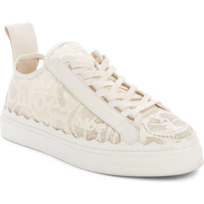 Chloe Lauren Logo Lace Sneaker, Beige