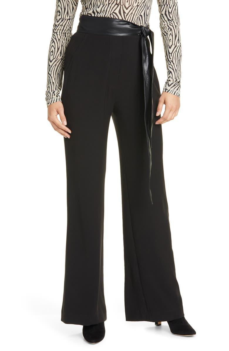 NANUSHKA Cecilia Belted Georgette Pants, Main, color, BLACK