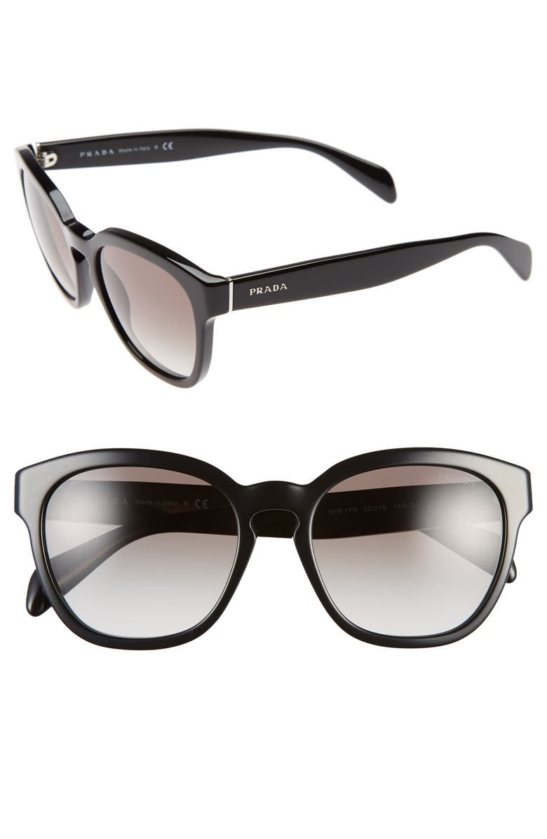 PRADA 53mm Keyhole Sunglasses, Main, color, 001