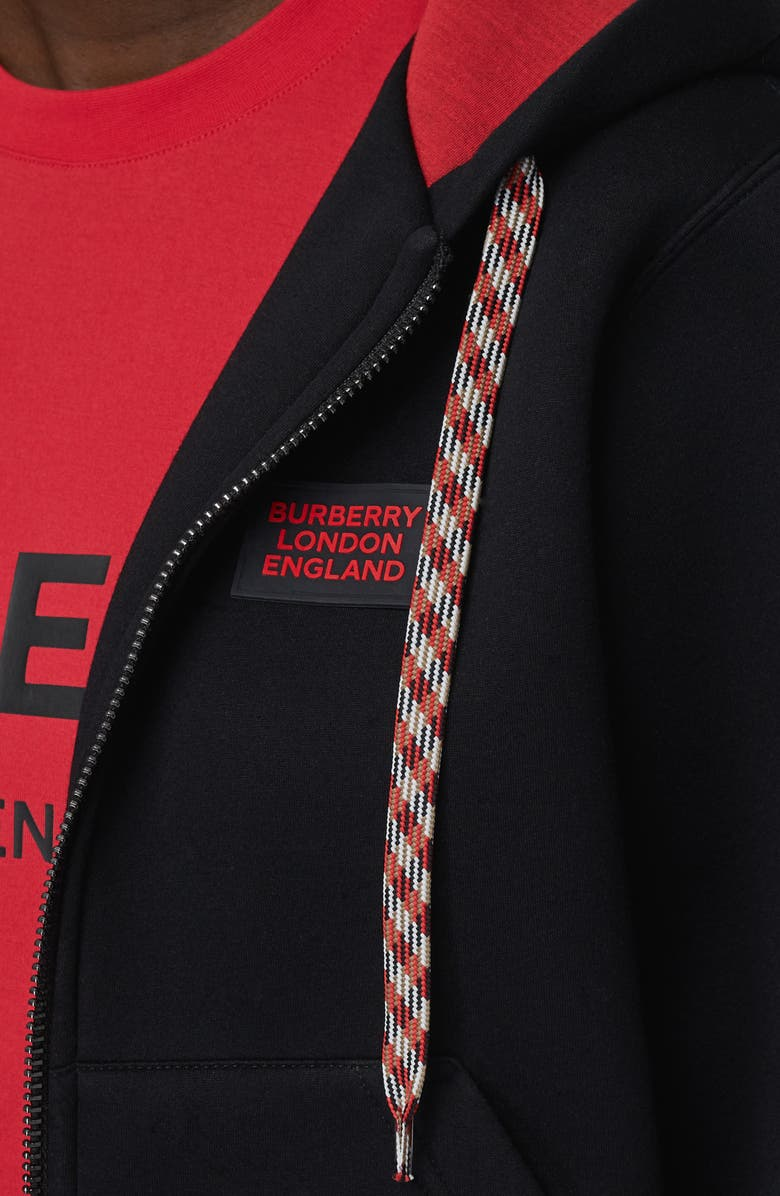 BURBERRY Aller Logo Zip Front Hoodie, Main, color, BLACK