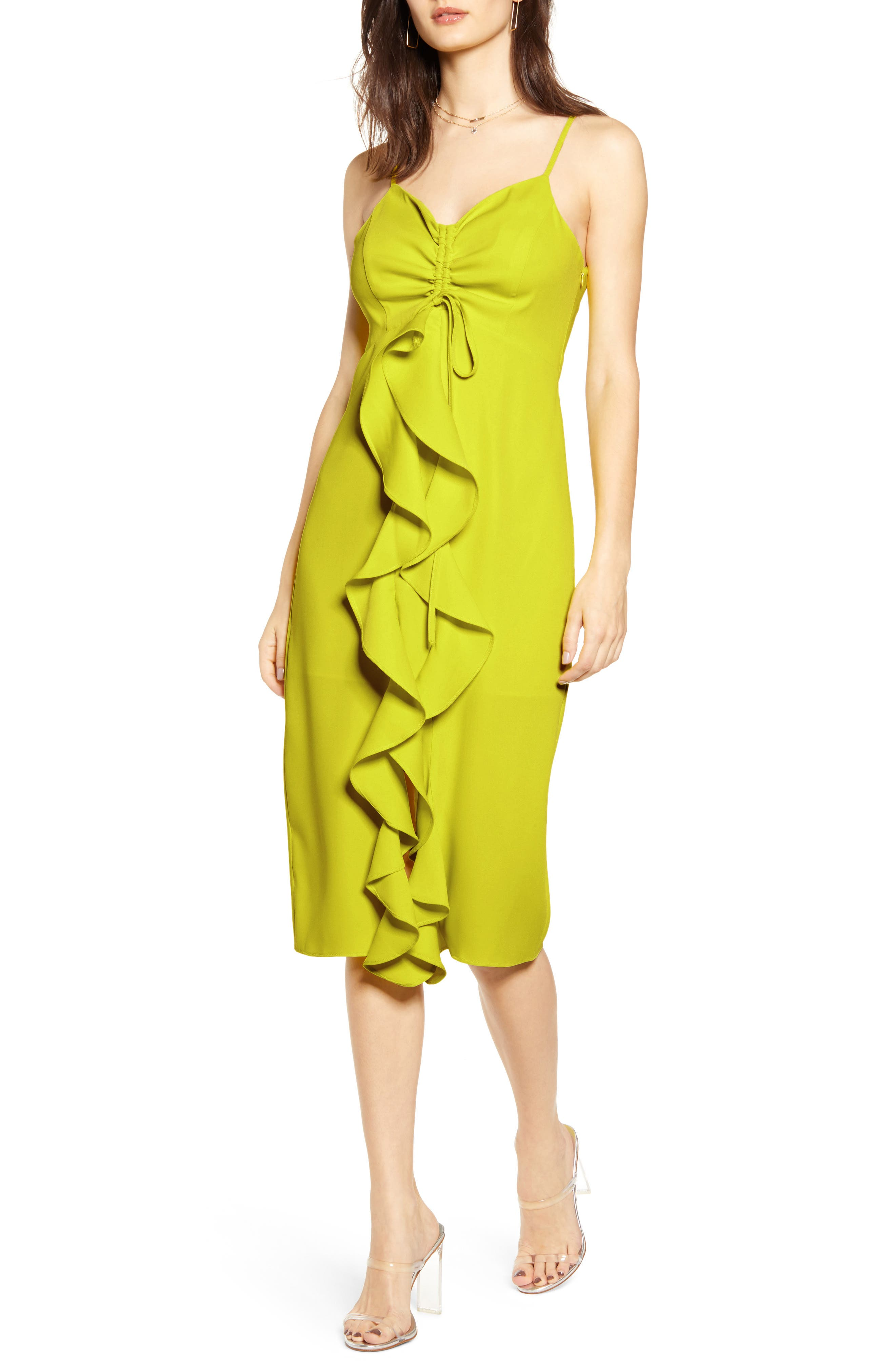 Endless Rose Strapless Ruffle Front Midi Dress, Yellow