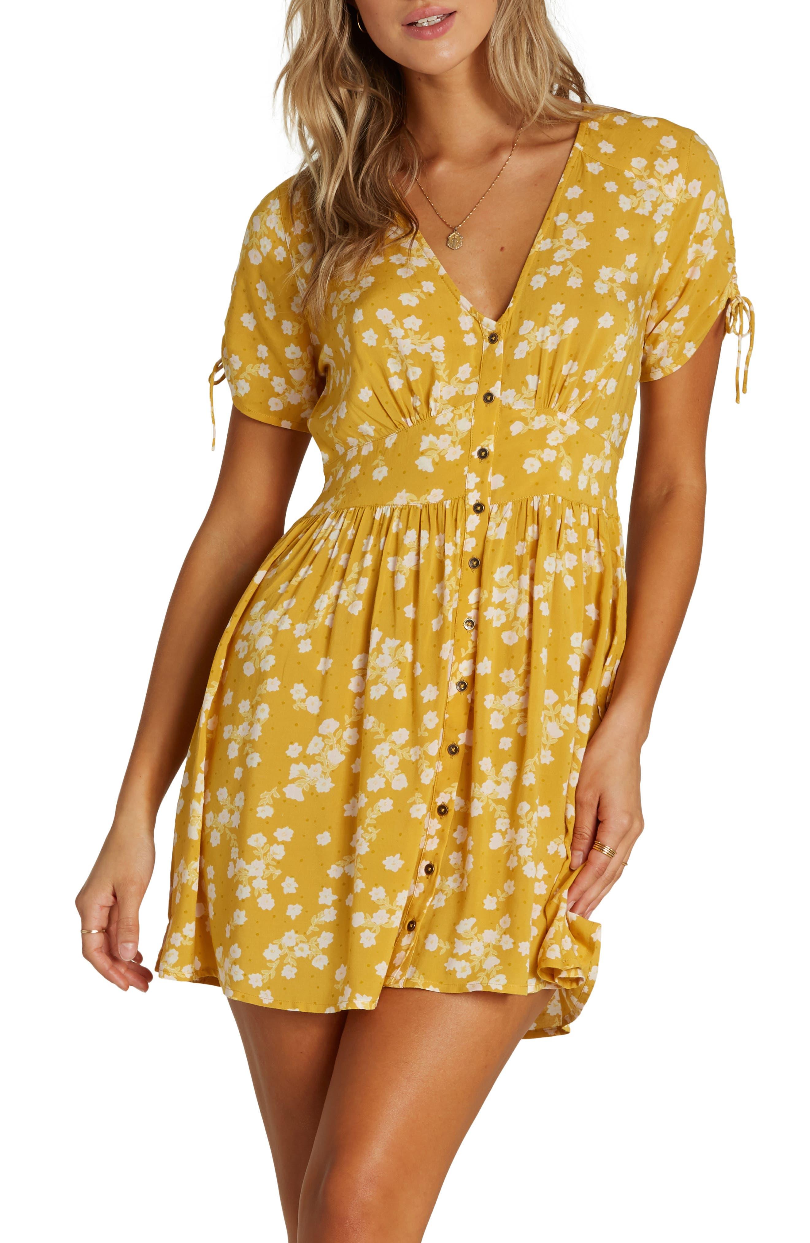 Billabong Twirl Twist Minidress, Yellow