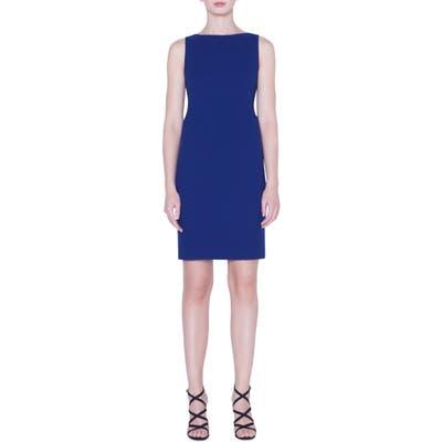 Akris Double Face Wool Crepe Sheath Dress, Blue