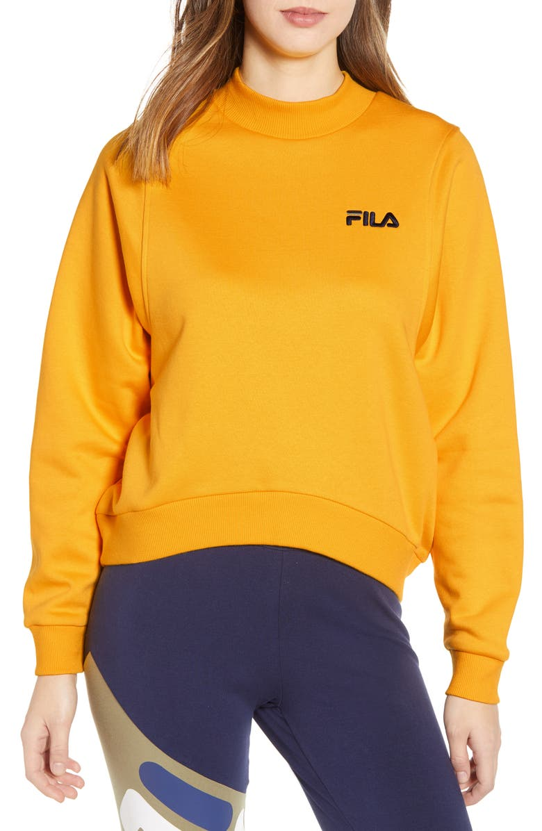 FILA Summer Mock Neck Sweatshirt, Main, color, CITRUS