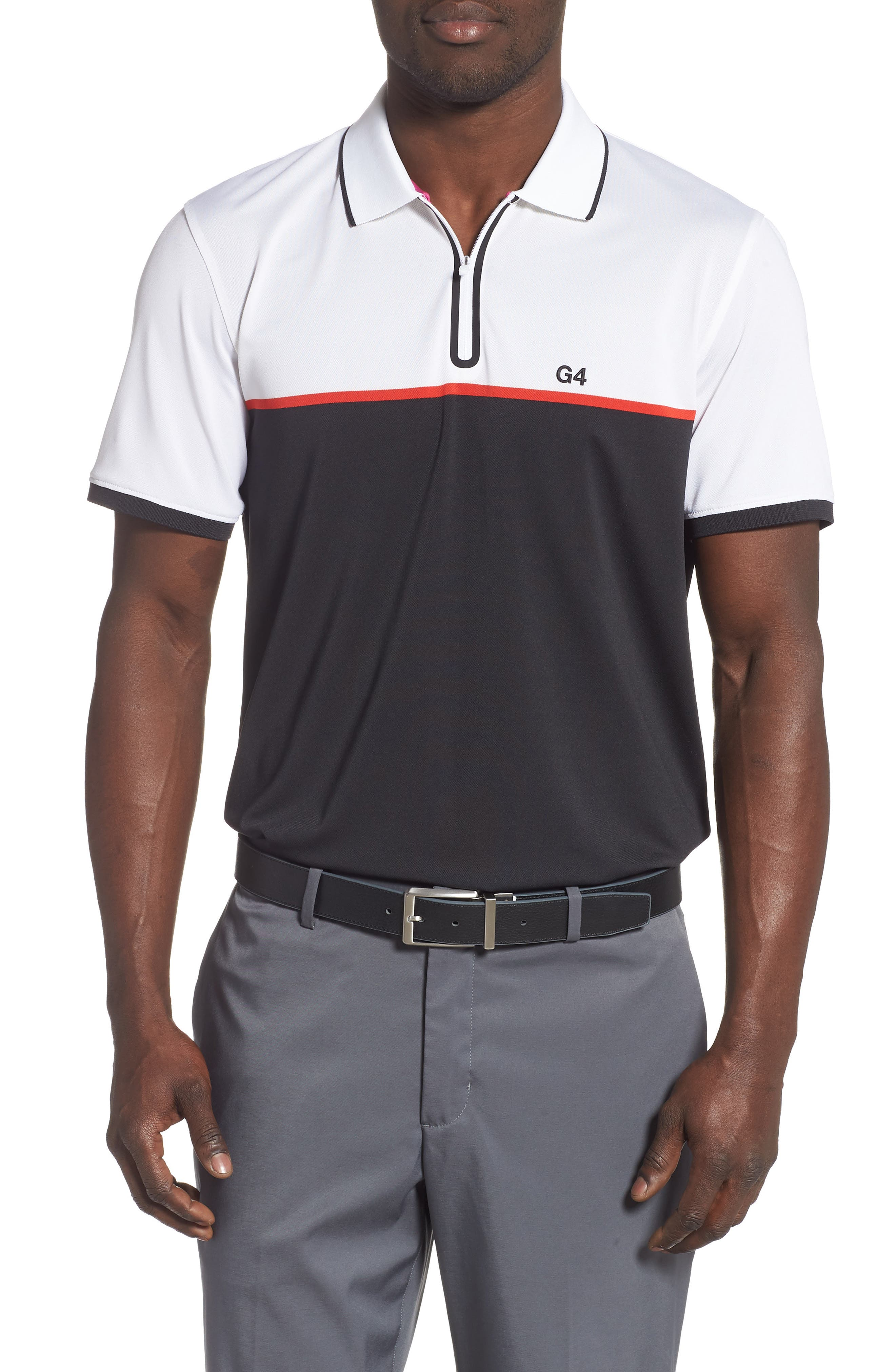 ,                             Zip Performance Golf Polo,                             Main thumbnail 1, color,                             BLACK INK / SNOW