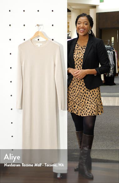 Crewneck Long Sleeve Midi Sweater Dress, sales video thumbnail