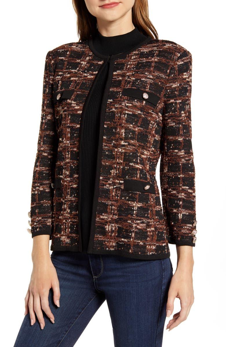 MING WANG Check Jacquard Knit Jacket, Main, color, BLK/ COGNAC/ FRENCH VANILLA