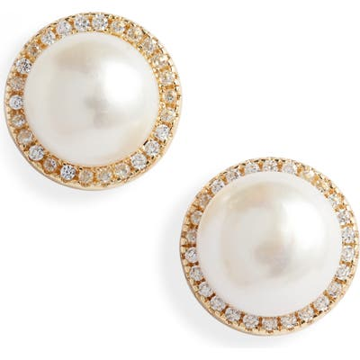 Sterling Forever Imitation Pearl Stud Earrings