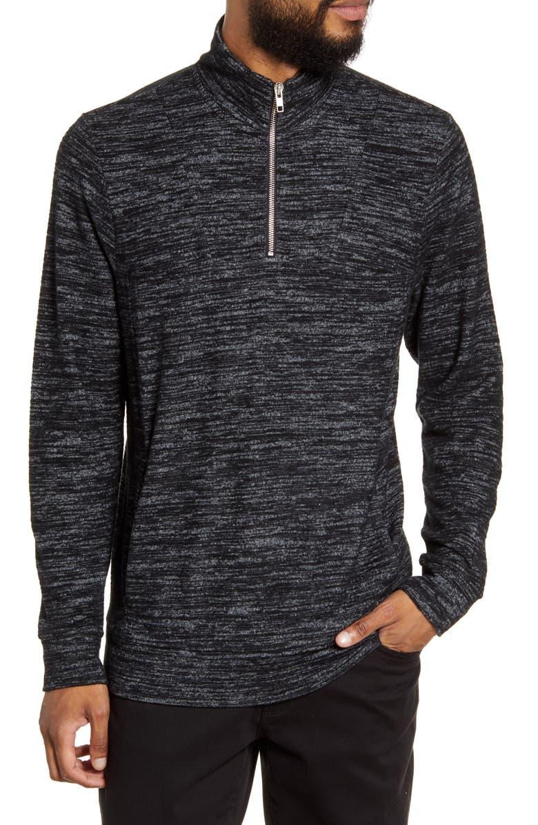 CALIBRATE Quarter Zip Pullover, Main, color, BLACK HEATHER