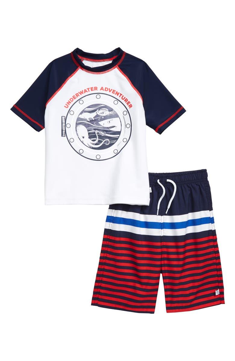 FLAPDOODLES Underwater Two-Piece Rashguard Swimsuit, Main, color, 100