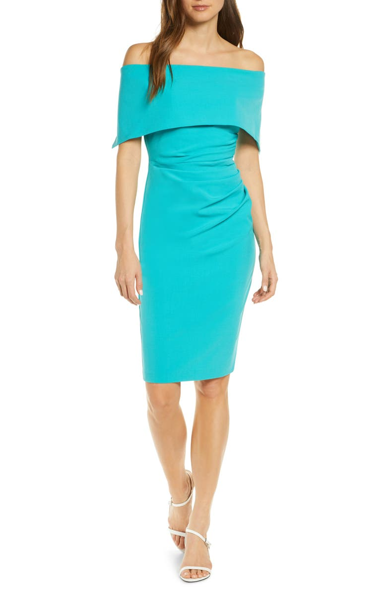 VINCE CAMUTO Popover Cocktail Dress, Main, color, TURQUOISE