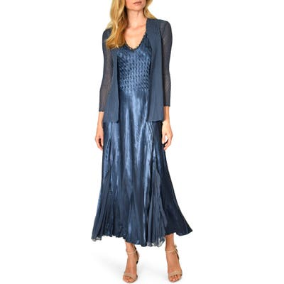 Komarov Charmeuse Midi Dress With Jacket, Blue