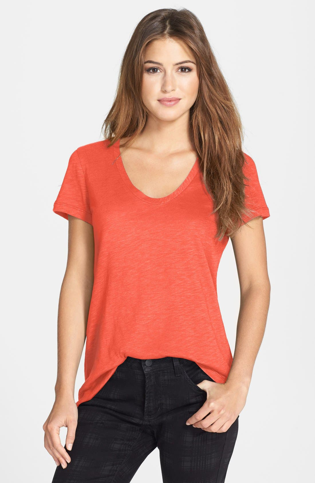 ,                             Relaxed Slub Knit U-Neck Tee,                             Main thumbnail 374, color,                             630