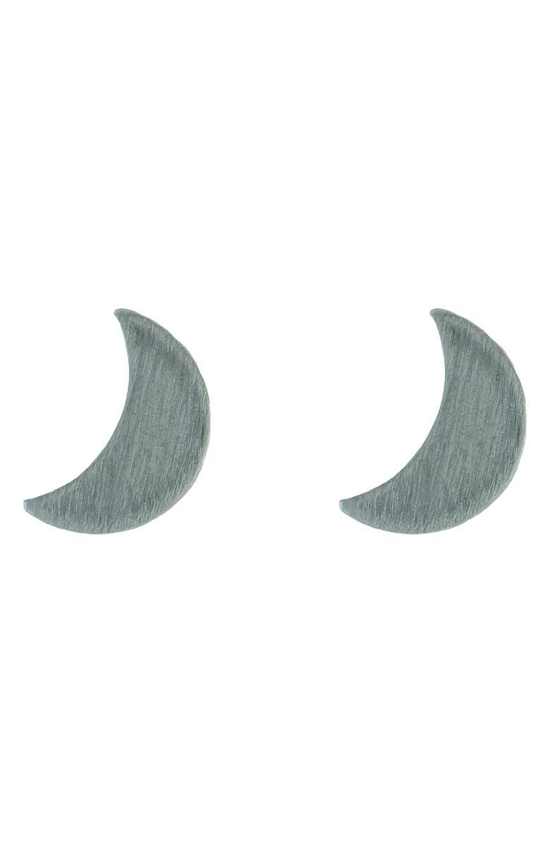NASHELLE Little Moon Stud Earrings, Main, color, SILVER