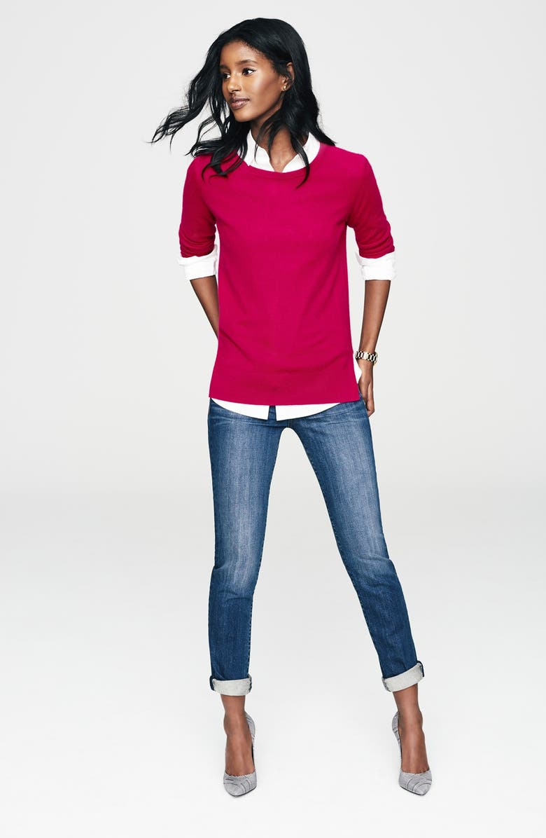 HALOGEN<SUP>®</SUP> Crewneck Lightweight Cashmere Sweater, Main, color, 000