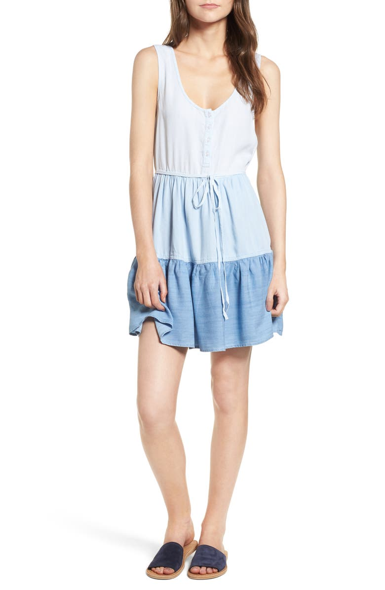 RAILS Noelle Tiered Chambray Dress, Main, color, 973