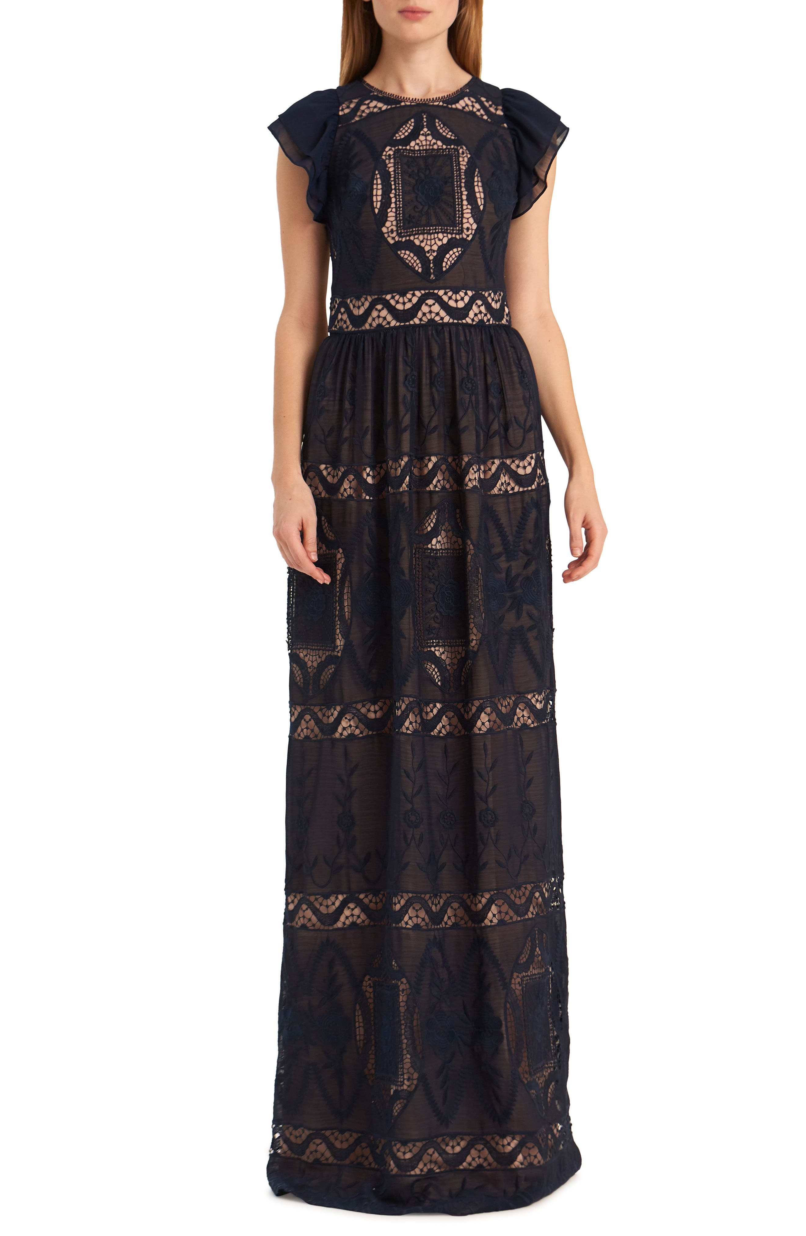 Ml Monique Lhuillier Embroidered Flutter Sleeve Chiffon Evening Gown, Blue
