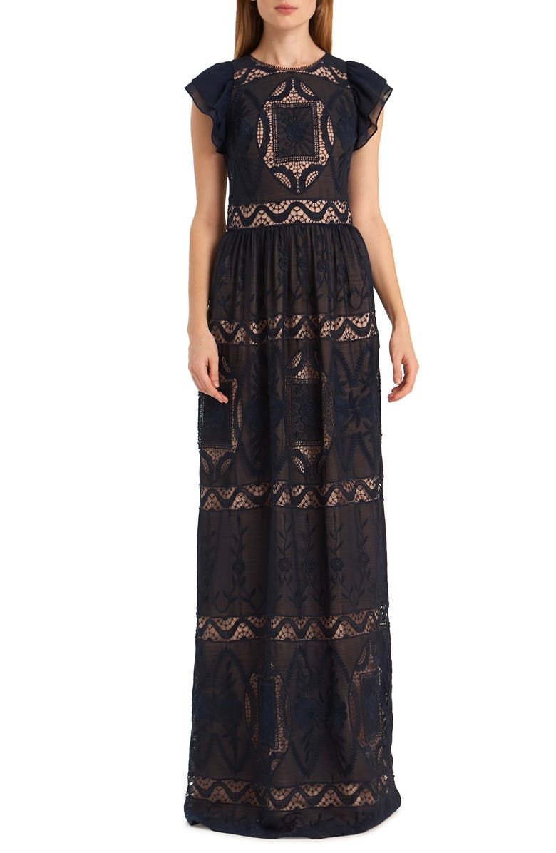 ML MONIQUE LHUILLIER Embroidered Flutter Sleeve Chiffon Evening Gown, Main, color, 410