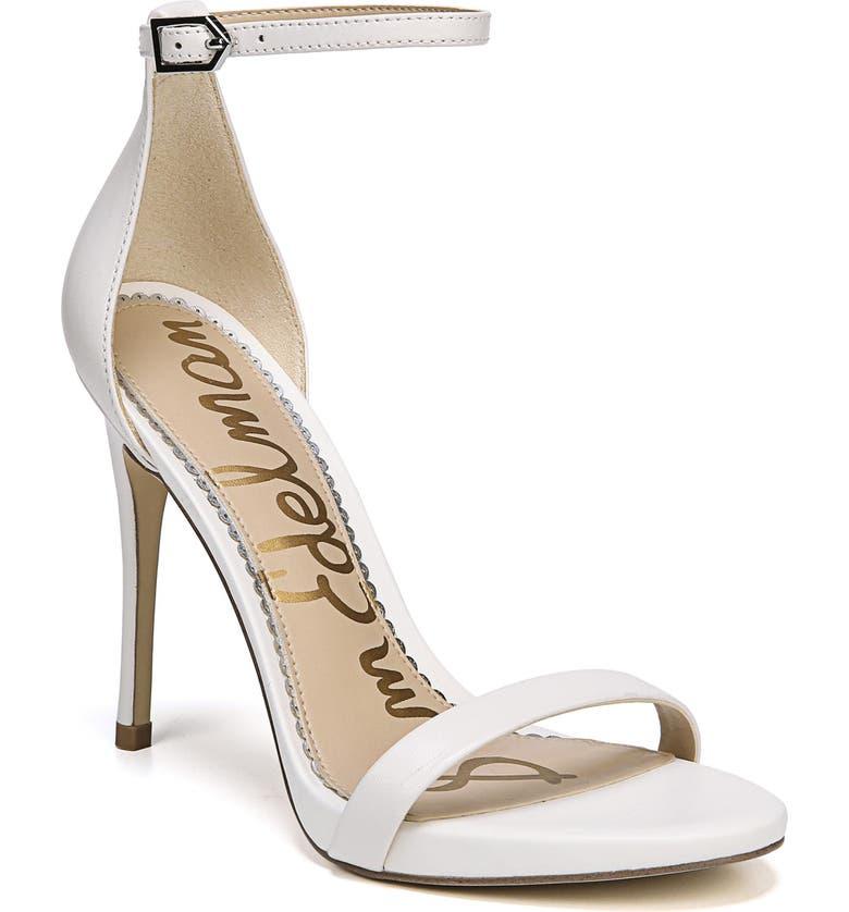 SAM EDELMAN Ariella Ankle Strap Sandal, Main, color, BRIGHT WHITE LEATHER
