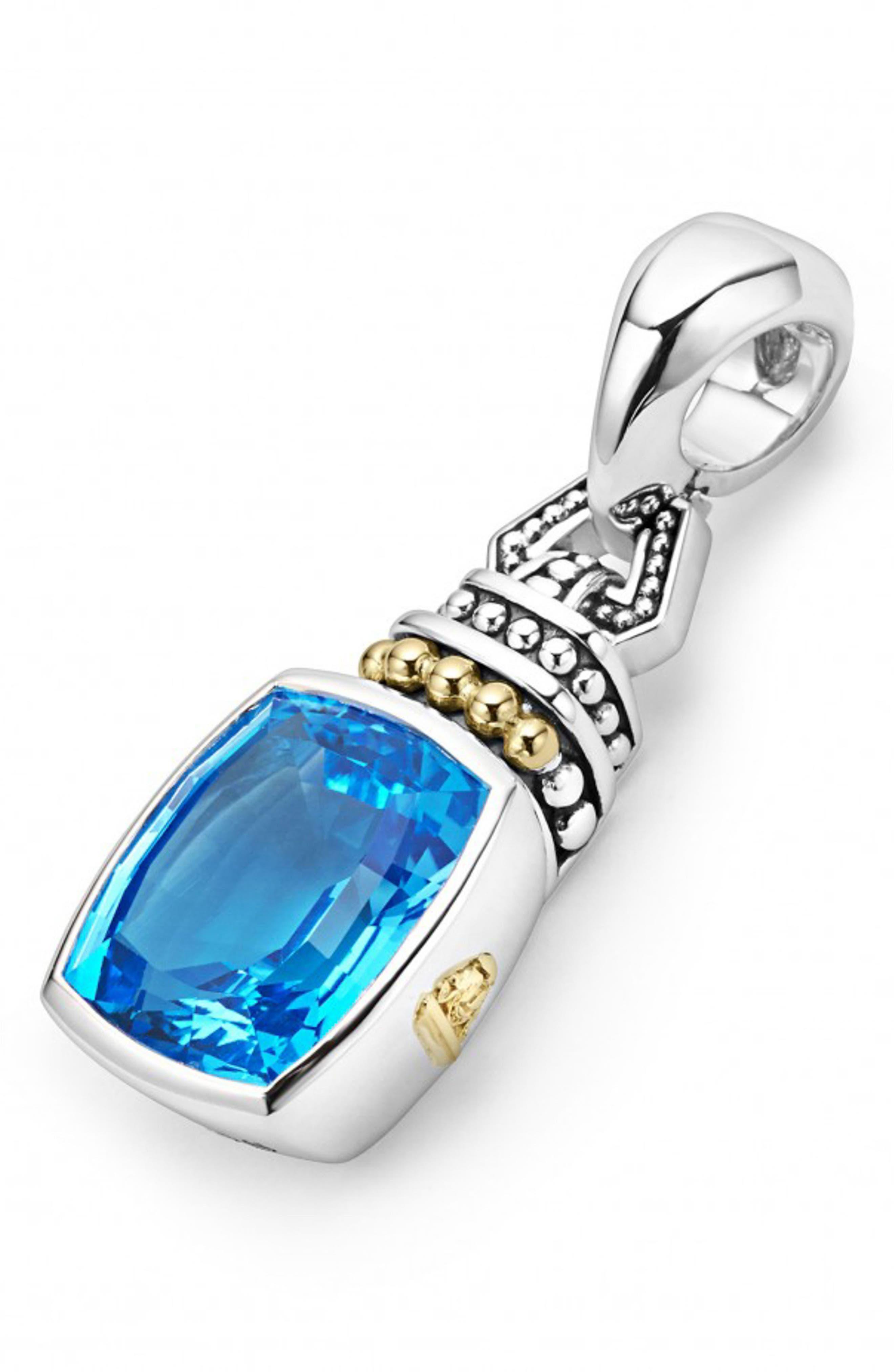 'Caviar Color' Semiprecious Stone Clip Pendant, Main, color, BLUE TOPAZ