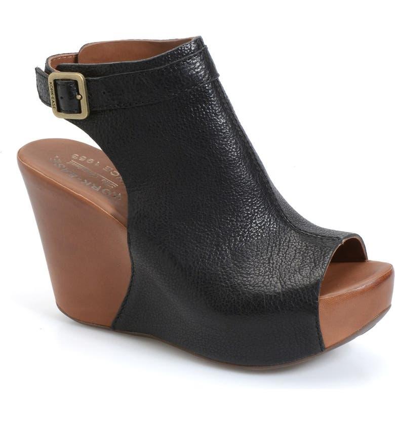 KORK-EASE<SUP>®</SUP> 'Berit' Wedge Sandal, Main, color, BLACK LEATHER