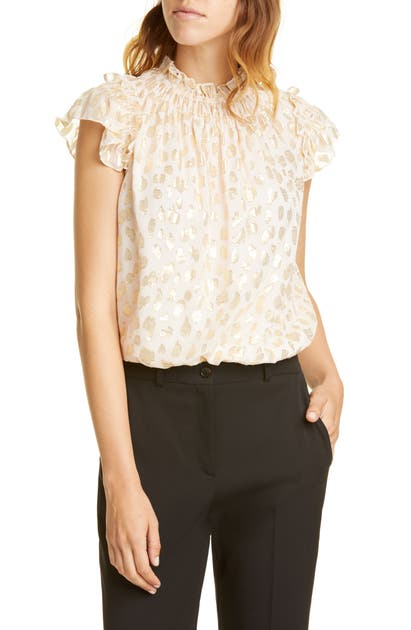 Rebecca Taylor Tops METALLIC LEOPARD SPOT SILK BLEND TOP