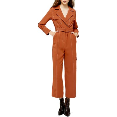 Topshop Topstitched Flying Jumpsuit, US (fits like 14) - Metallic