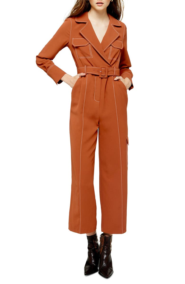 TOPSHOP Topstitched Flying Jumpsuit, Main, color, 220