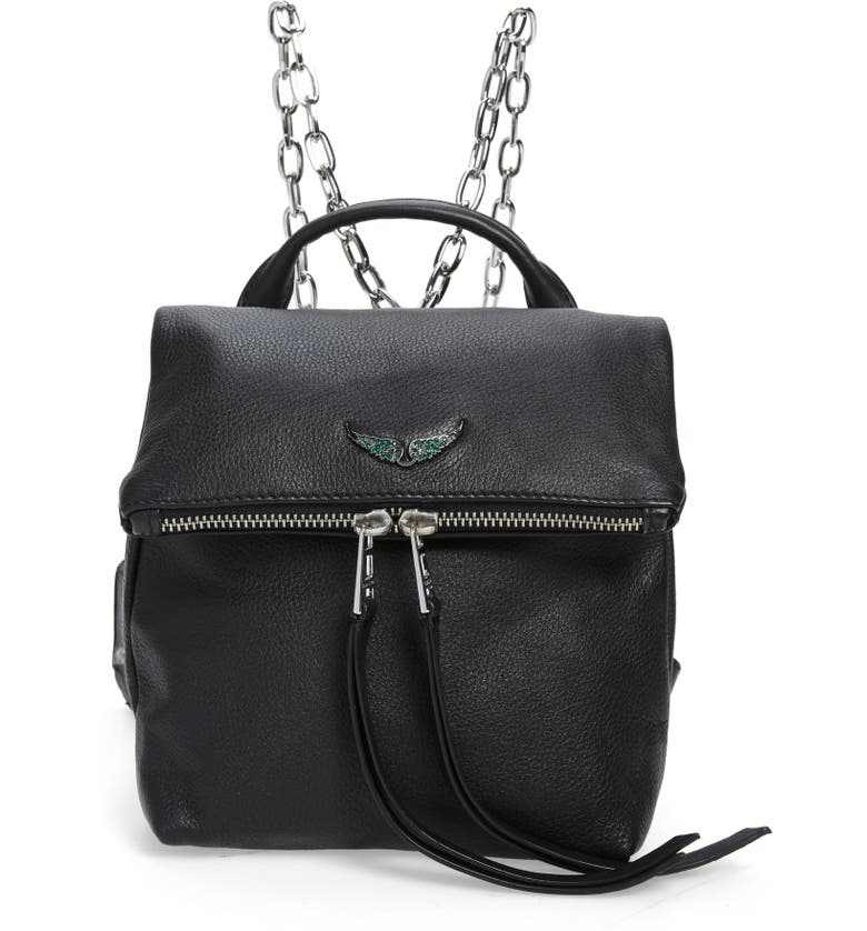 ZADIG & VOLTAIRE Romi Grained Leather Backpack, Main, color, 001