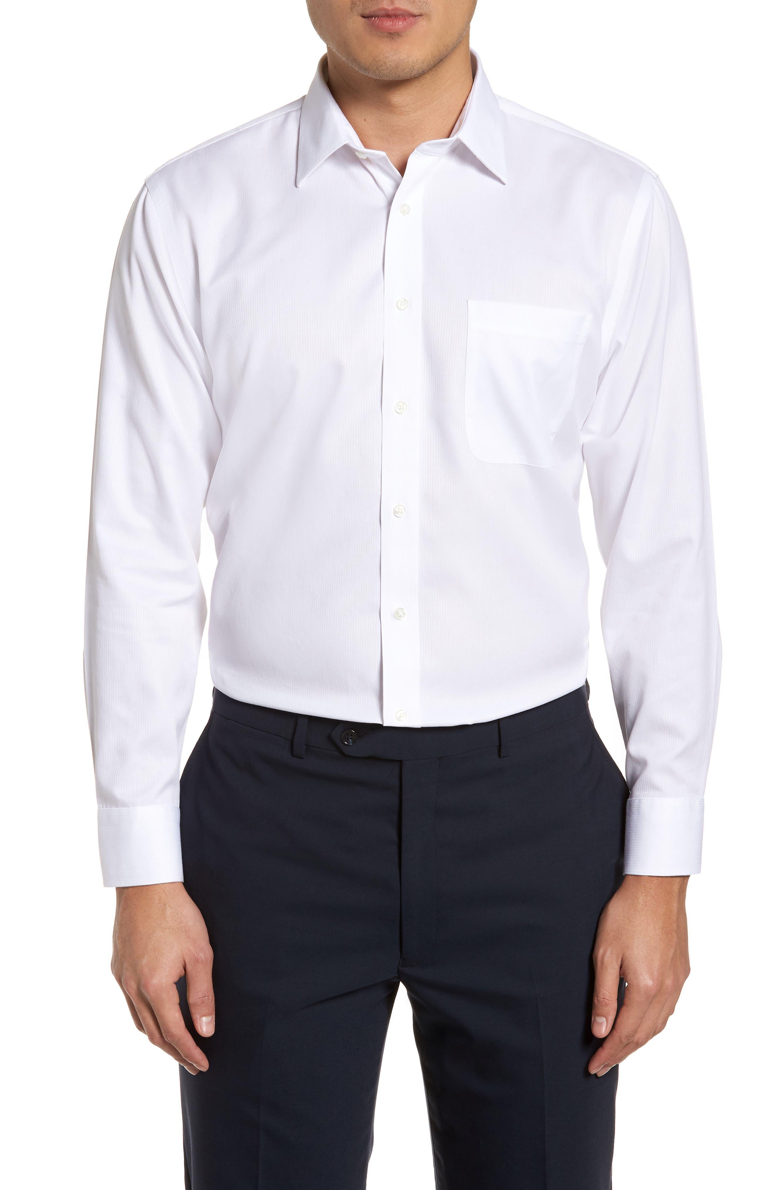 ,                             Smartcare<sup>™</sup> Trim Fit Dress Shirt,                             Main thumbnail 1, color,                             WHITE