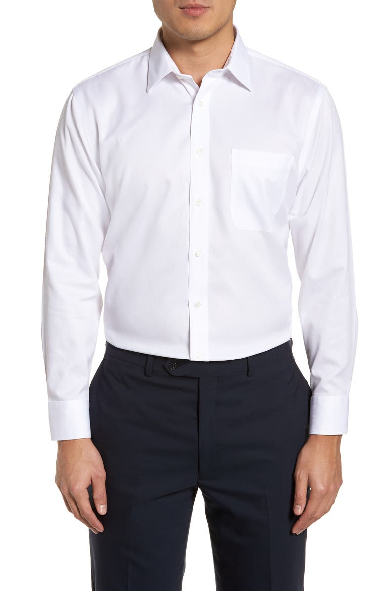 NORDSTROM MEN'S SHOP Smartcare<sup>™</sup> Trim Fit Dress Shirt, Main, color, WHITE