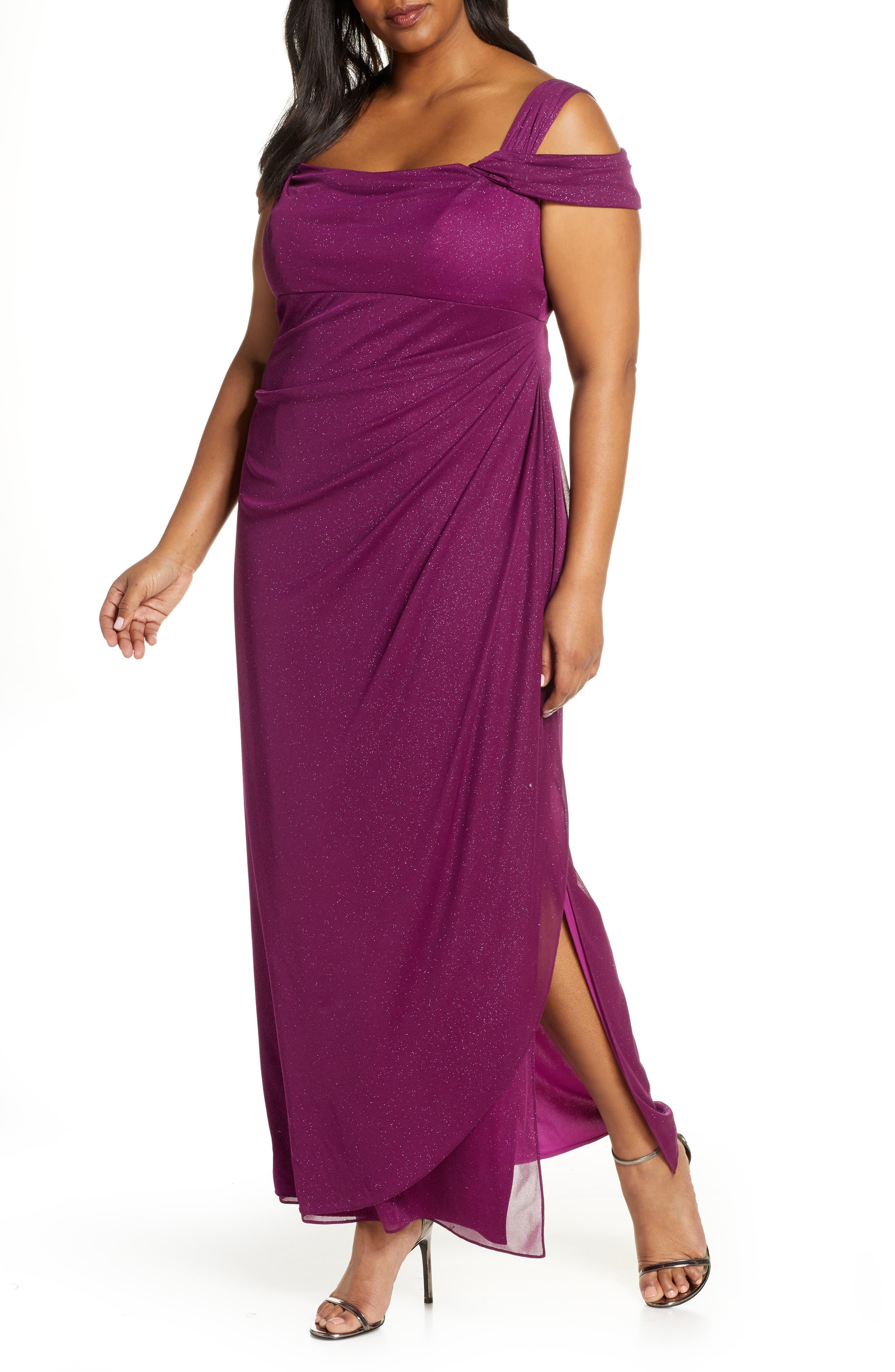 Plus Size Alex Evenings Cold Shoulder Sheath Gown, Purple