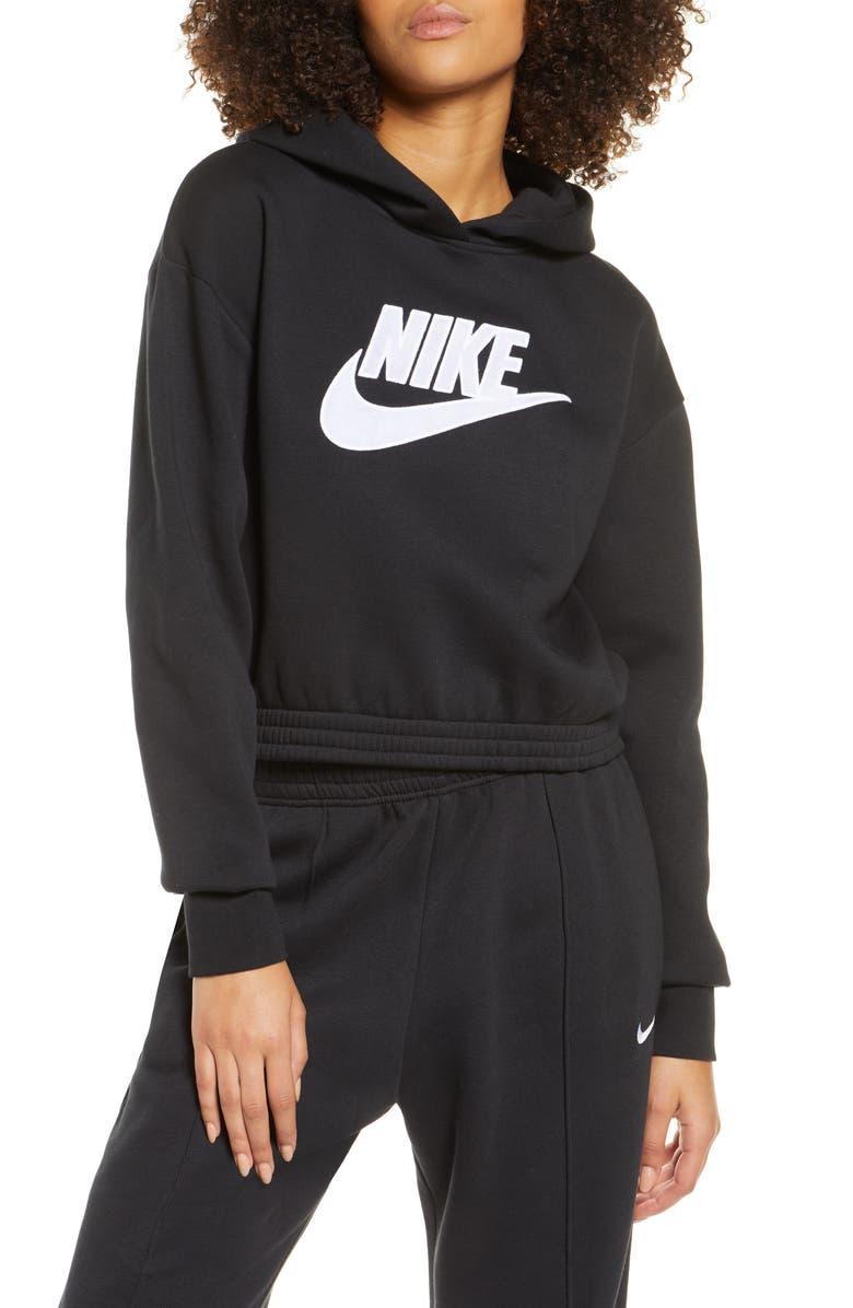 NIKE Sportswear Logo Patch Cotton Blend Hoodie, Main, color, BLACK