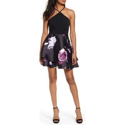 Speechless Floral Fit & Flare Dress, Black