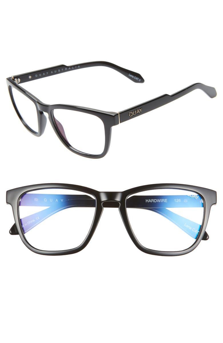 QUAY AUSTRALIA Hardwire 54mm Blue Light Blocking Glasses, Main, color, BLACK