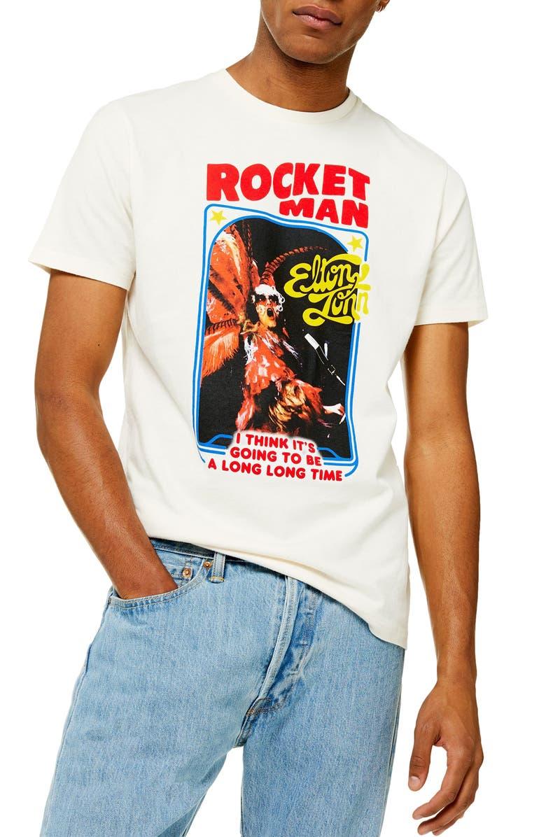 TOPMAN Rocket Man Graphic T-Shirt, Main, color, 900
