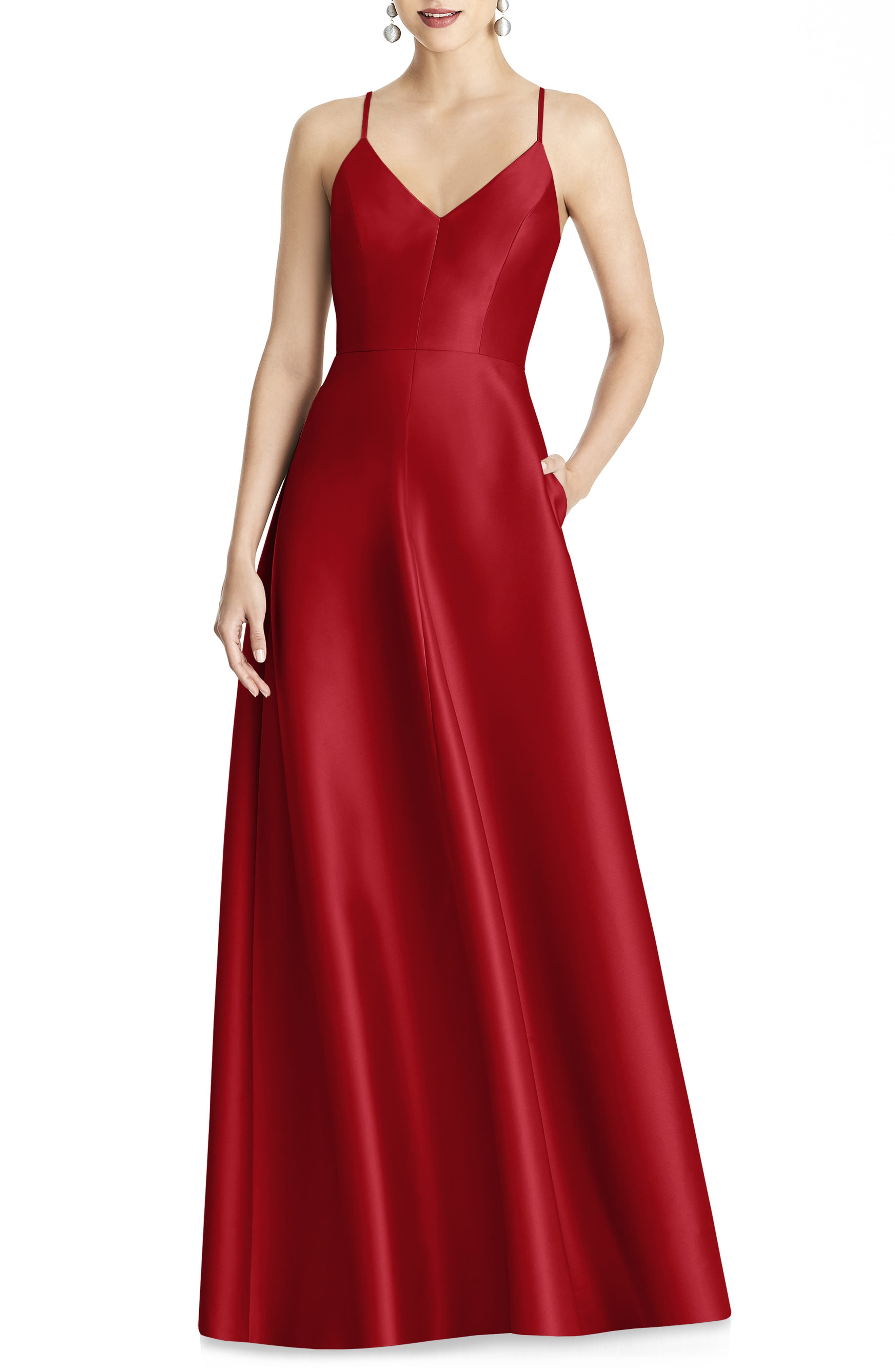 Alfred Sung Strappy Sateen A-Line Gown, Red