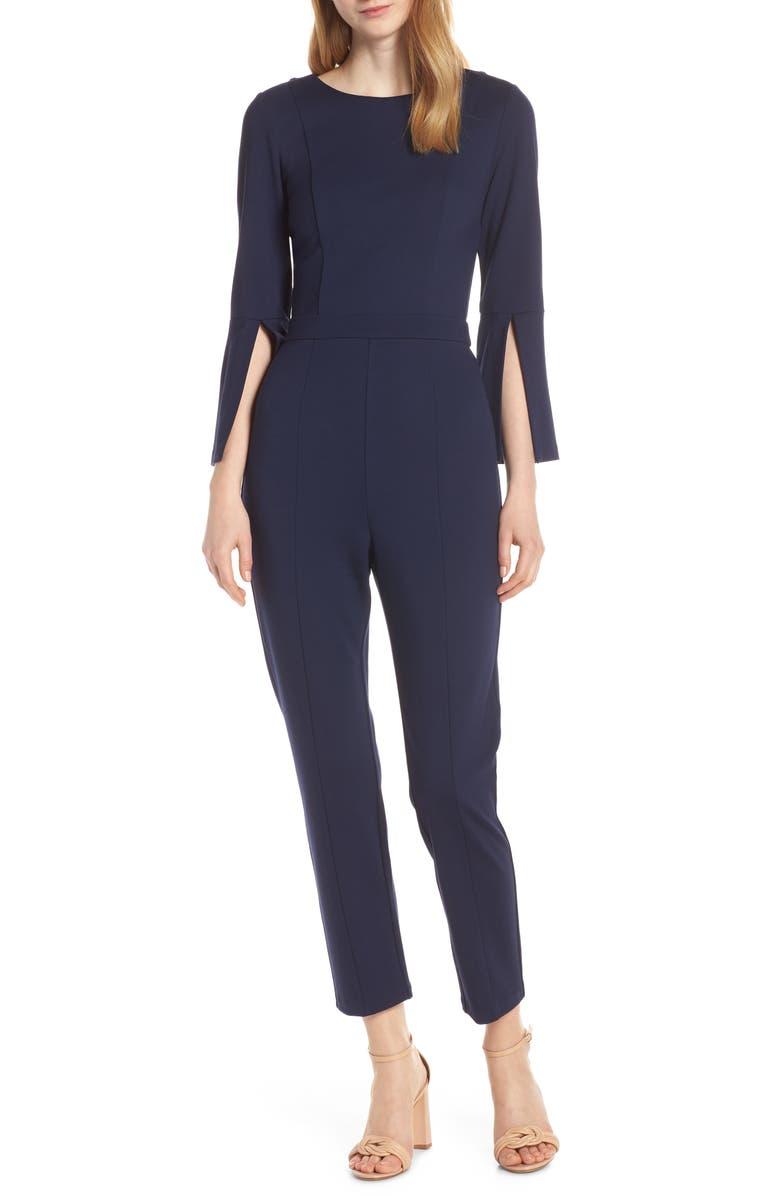 ALI & JAY Slit Sleeve Slim Leg Jumpsuit, Main, color, NAVY