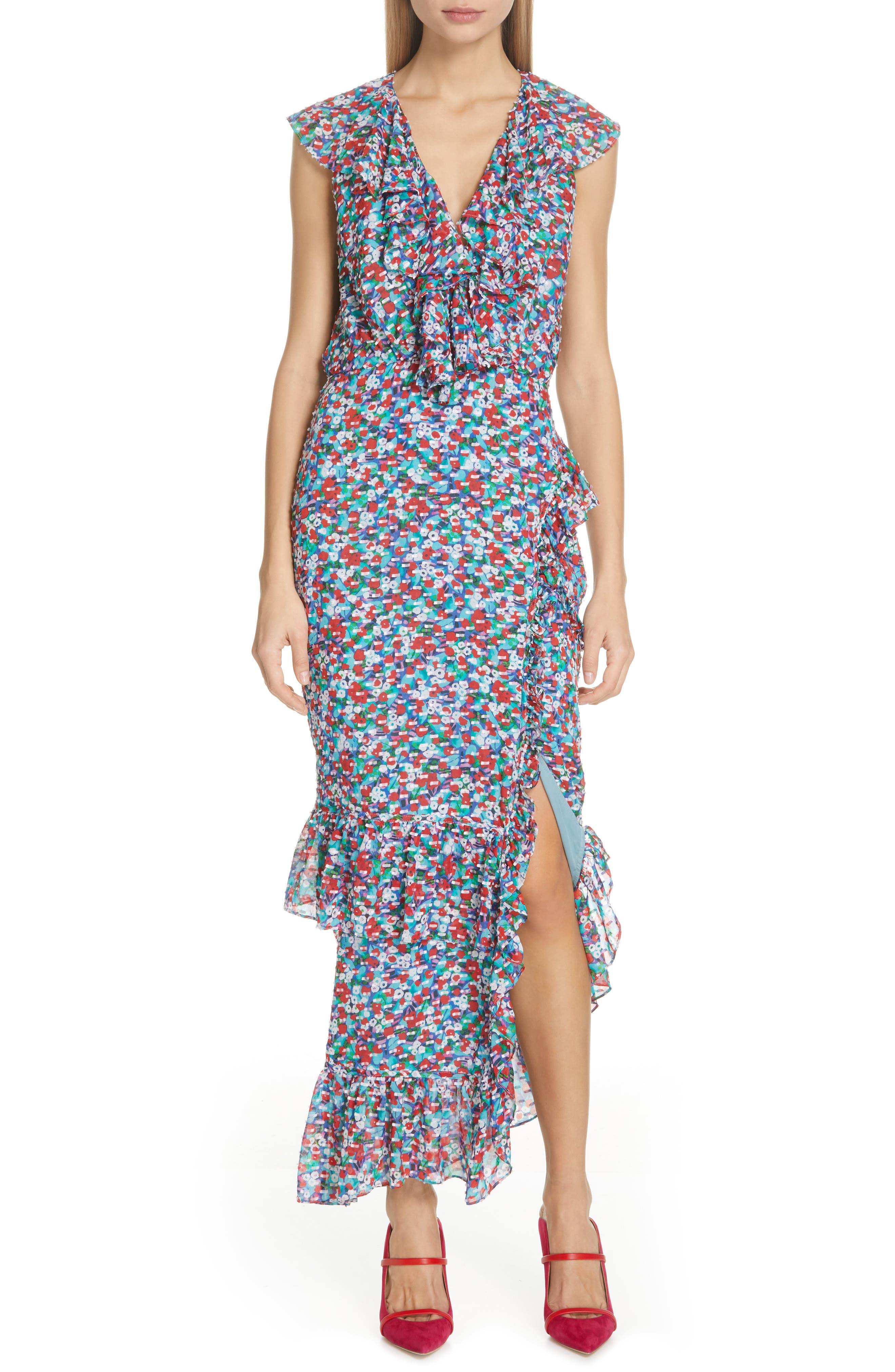 ,                             Anita Ruffle Trim Silk Burnout Dress,                             Main thumbnail 1, color,                             BLUE POPPYFIELD