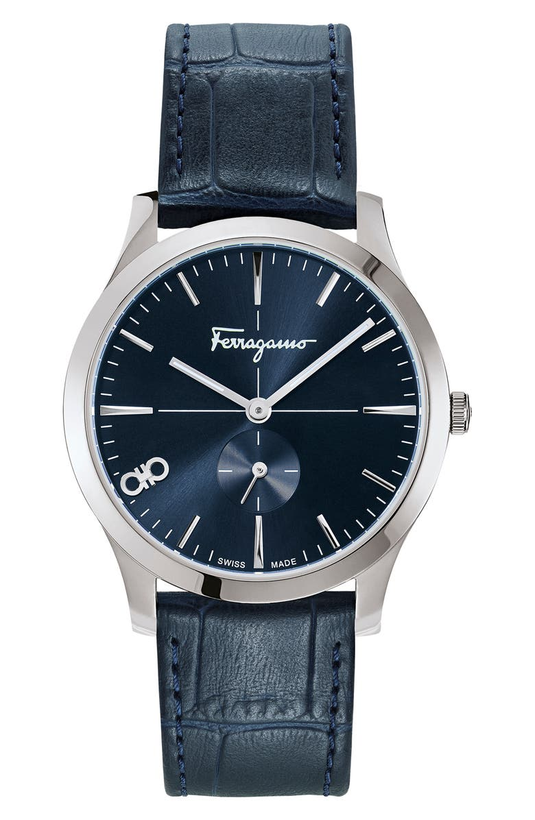 SALVATORE FERRAGAMO Slim Leather Strap Watch, 40mm, Main, color, BLUE/ SILVER