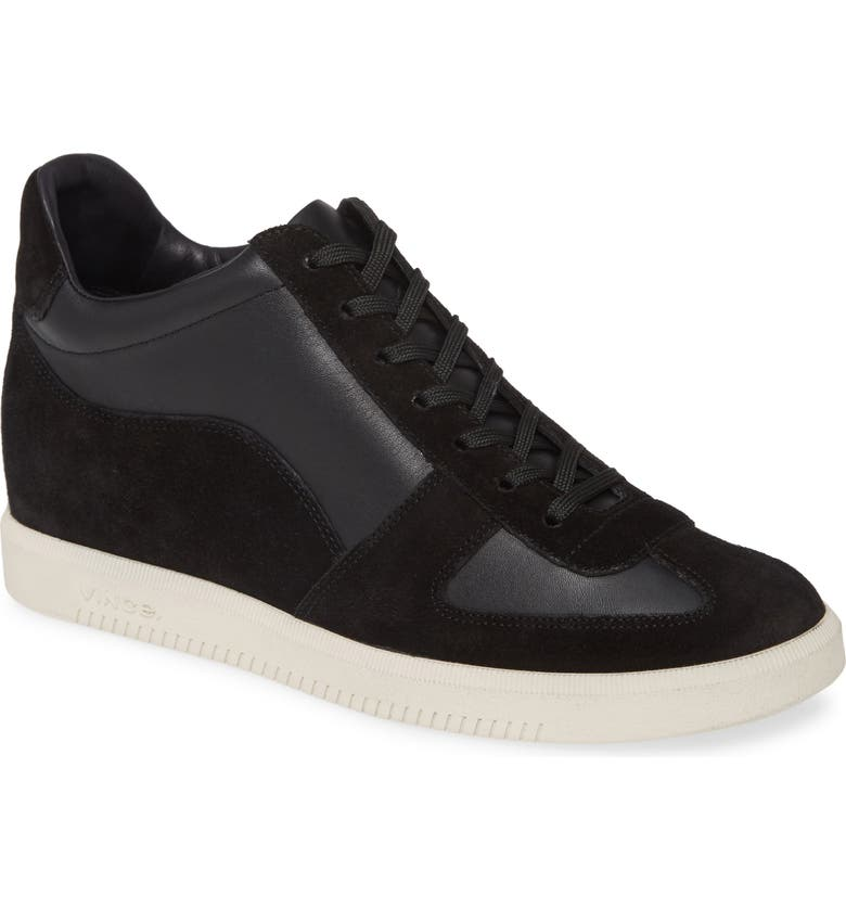 VINCE Ina High Top Sneaker, Main, color, BLACK LEATHER