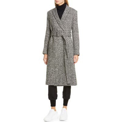 Stella Mccartney Belted Melange Wool Wrap Coat, 8 IT - Black