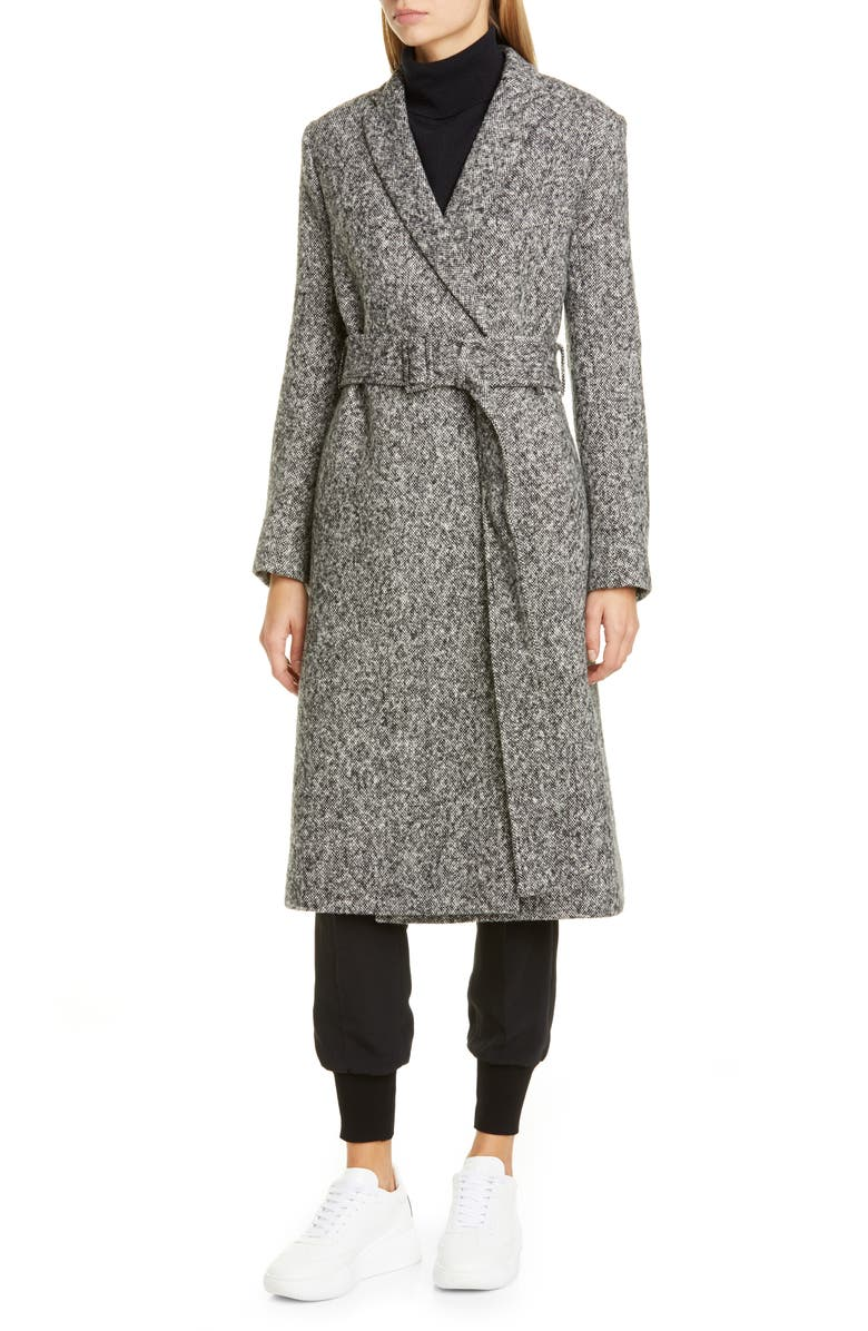 STELLA MCCARTNEY Belted Mélange Wool Wrap Coat, Main, color, 001