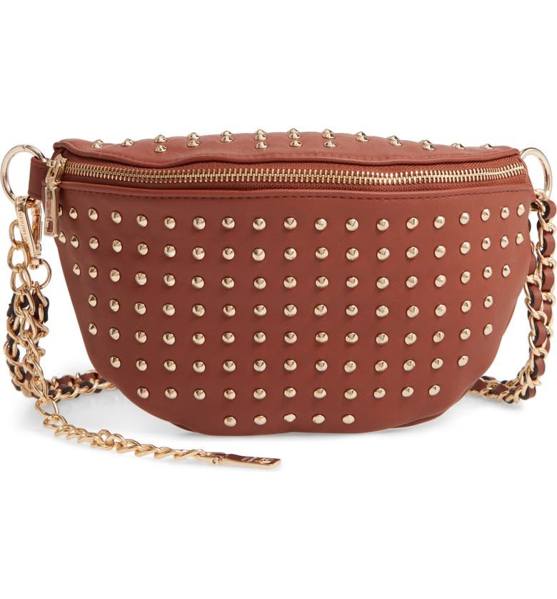STEVE MADDEN Studded Faux Leather Belt Bag, Main, color, COGNAC