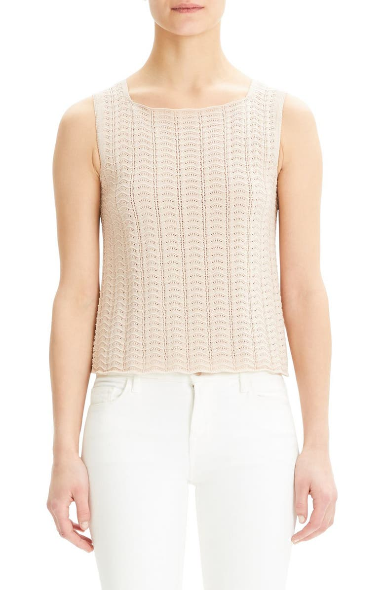 THEORY Crochet Sleeveless Cotton Blend Sweater, Main, color, PALE BLUSH