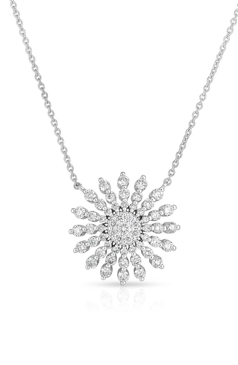 ROBERTO COIN Diamond Sunburst Pendant Necklace, Main, color, DIAMOND/ WHITE GOLD