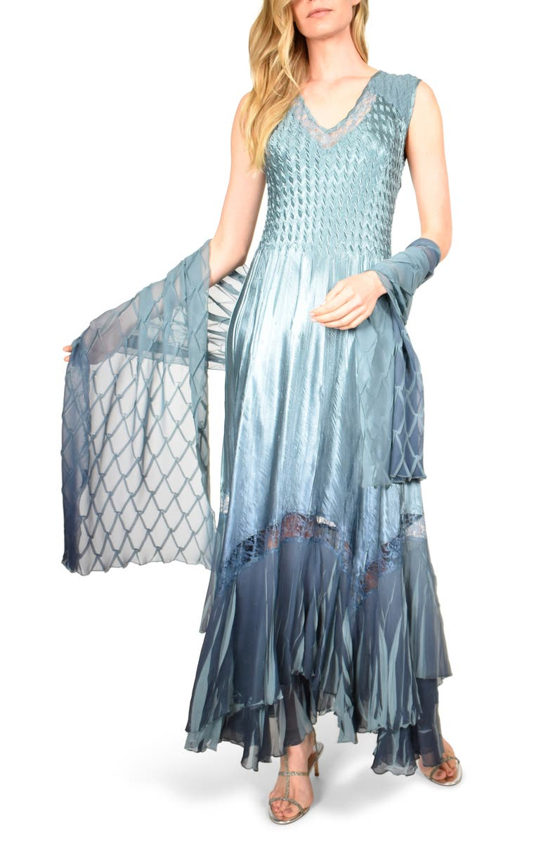KOMAROV Charmeuse & Chiffon Maxi Dress with Shawl, Main, color, SILVER BLUE NIGHT OMBRE