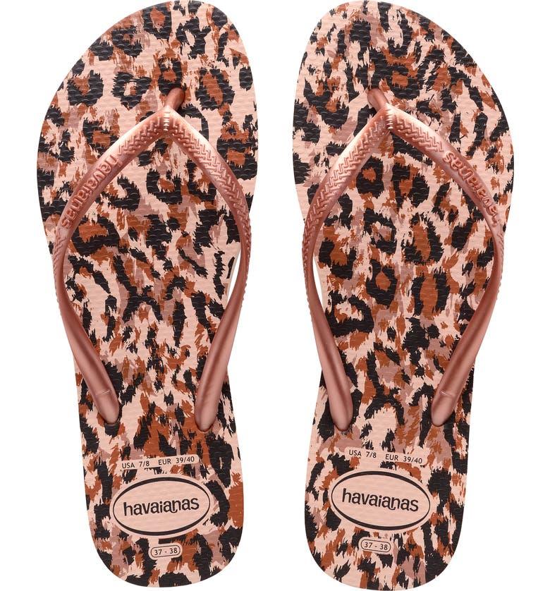 HAVAIANAS Slim Animal Print Flip Flop, Main, color, BALLET ROSE